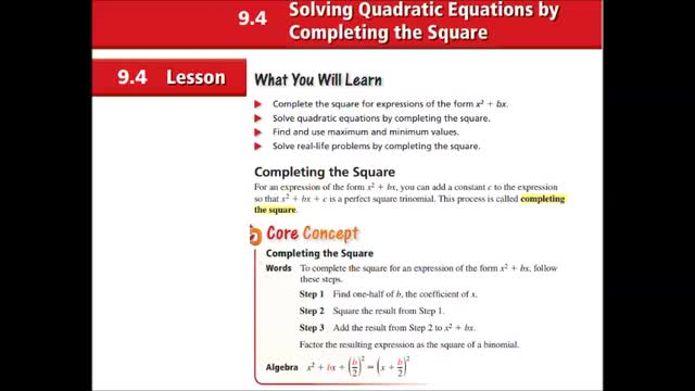 Alg Ch 9-4 Solving Quad Eq by Completing the square