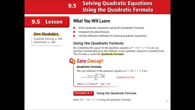 Alg Ch 9-5 Solving Quad Eq using Quadratic Formula