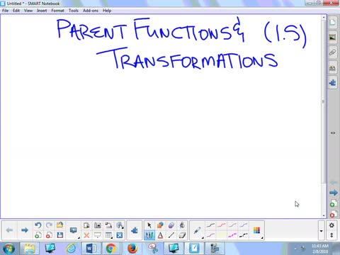 1.5 Notes 2 - Parent Functions and Transformations