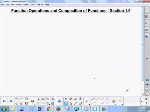 1.6 Notes 1 - Function Operations and Composition of Functions