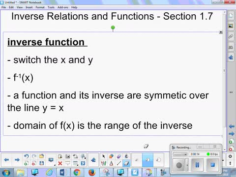1.7 Notes - Inverse Relations and Functions