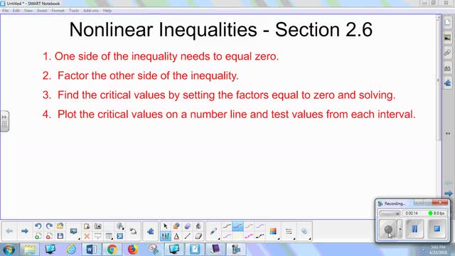 2.6 Notes - Nonlinear Inequalities