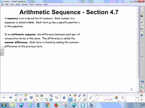 4.7 Notes - Arithmetic Sequences