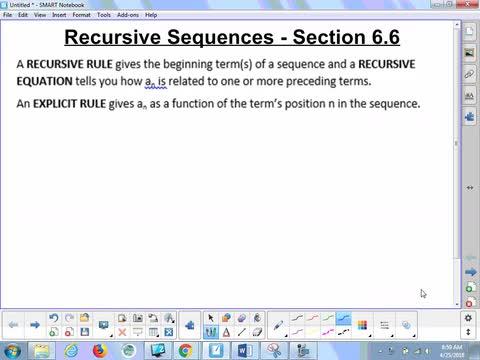 6.6 Notes - Recursive Sequences