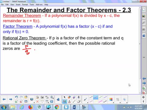 2.3 Notes - Remainder and Factor Theorems