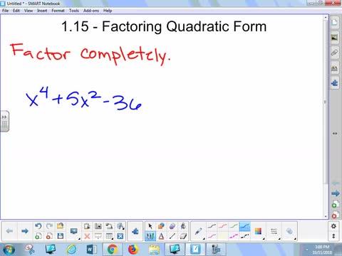 1.15A Lesson - Factoring Quadratic Form