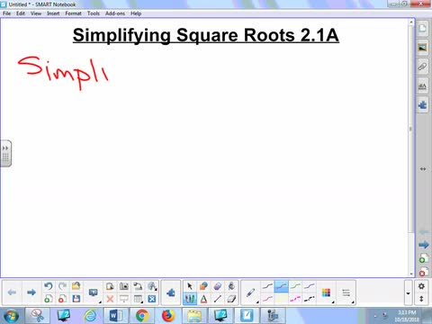 2.1A Lesson - Simplifying Square Roots