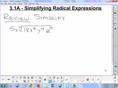 3.1A Lesson - Simplifying Radicals