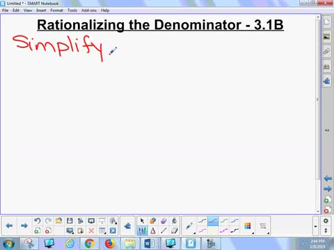 3.1B Lesson - Rationalizing the Denominator