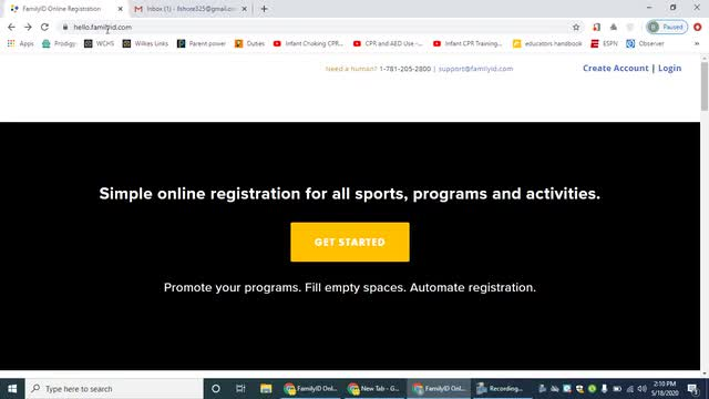 Athletics- How to register for Family ID