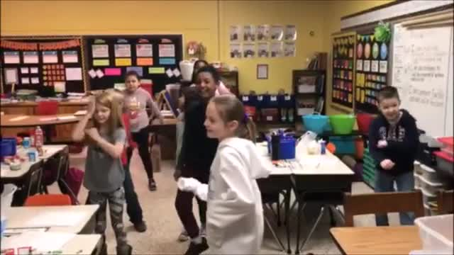 3rd and 4th Graders dancing to our school song