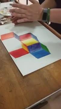 7th Grade: Op Art Cube painting tutorial